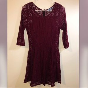 Maroon lace dress with sleeves